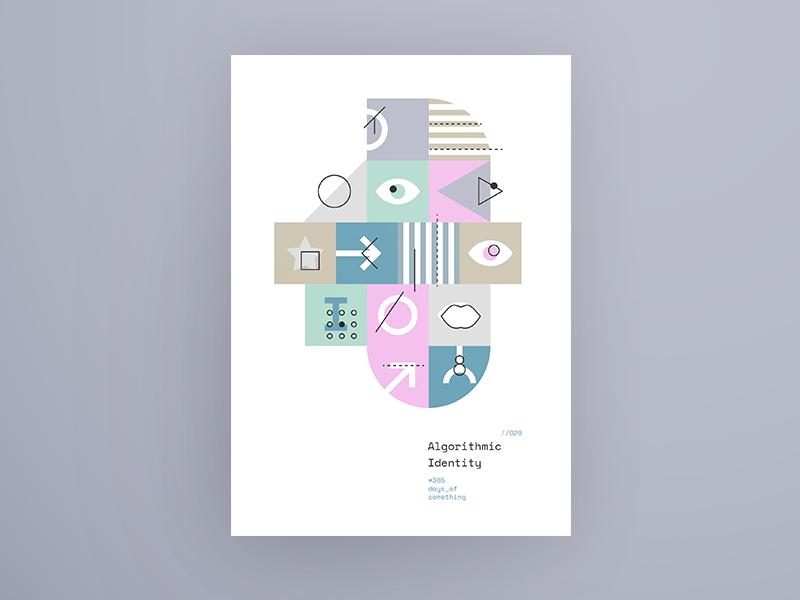 DAY029: Algorithmic Identity - Type 1 dark minimal line 365daysofsomething swiss abstract algorithmic identity ai poster