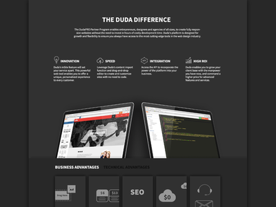 Black is pro! pro black landing page web homepage dark ui devices features bullets