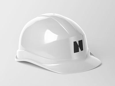Nexus Collateral construction outside mock up hoarding helmet brand identity branding brand identity logo