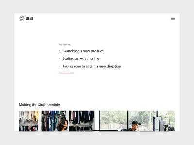 Shift Website grid typography photography illustration branding ux ui web design website