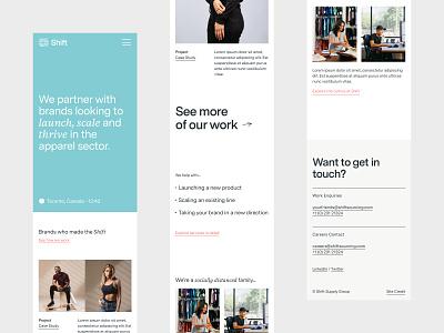 Shift Mobile Screens responsive mobile typography branding brand identity web design ux ui website