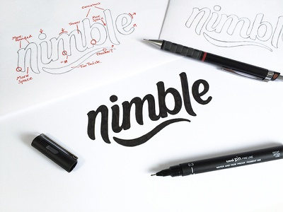 Nimble - Sketches hand lettering custom type lettering pencil process sketch typography type logo
