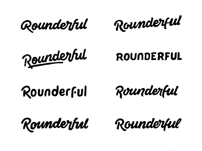 Rounderful Rough Sketches word mark custom lettering custom type logo design hand lettering process lettering branding typography logo logotype