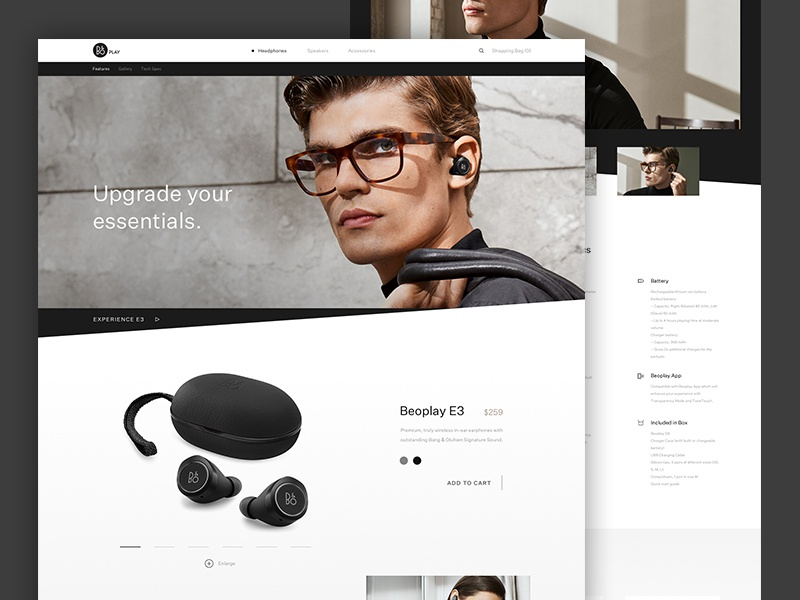 Bang and Olufsen Concept Product Page website design band and olufsen ux ui minimal concept headphones product shop ecommerce