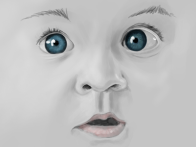 Baby Face sketch digital paint drawing photoshop