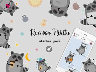 Raccoon Nikita sticker pack for Telegram