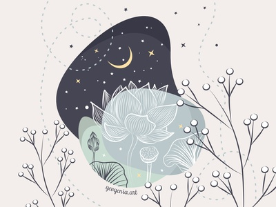 2 - Who are you in the world of Flora? symbol moon stars lotus vector flowers vector illustration illustration drawing