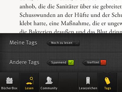 BookBox Tags tag tags menu taskbar ebook reader ipad icons