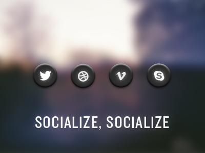 Socialize, Socialize social icons twitter dribbble vimeo skype round socialize buttons