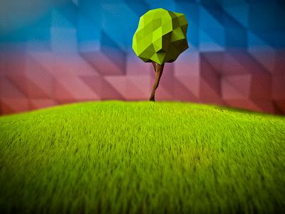 Little tree hill grass tree low-poly polygonic c4d cinema cinema4d