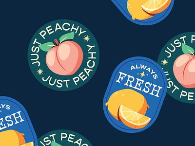 Fruit Stickers drawing illustration art artph fresh lemon peach fundraising fruit stickers food