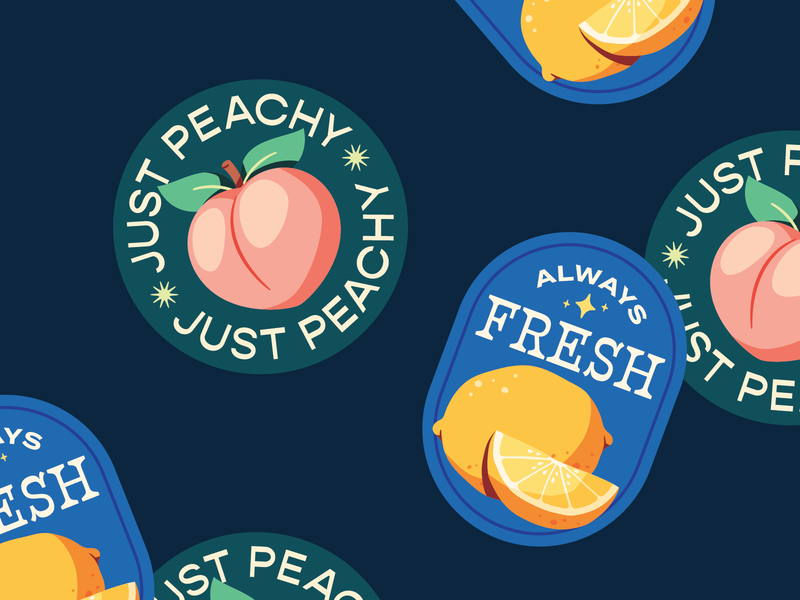 Fruit Stickers drawing illustration art artph fresh lemon peach fundraising fruit stickers food