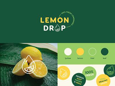 Weekly Warm-up: Lemon Stand Brand Identity weekly warm-up drink juice food identity stickers lemonade fruit lemon logo vector illustration