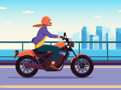 Motorcycle Lady vector texture lady woman colorful urban buildings city motorcycle illustration