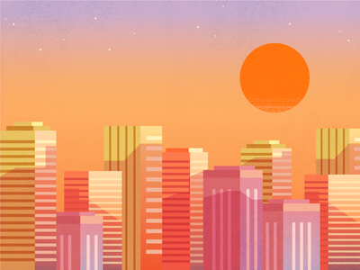 Sunset buildings city sunset flat texture retro vector illustration