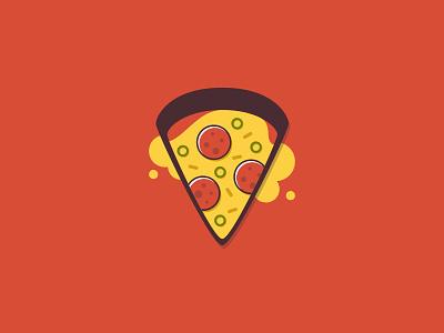 Pepperoni Pizza Slice cheese flat vector illustration food pepperoni slice pizza