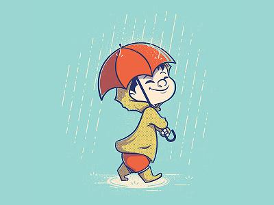 Kid Marching in the Rain orange yellow rain cute kid cartoon character texture vector