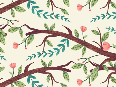 Branches flower leaves branches floral texture illustration vector foliage