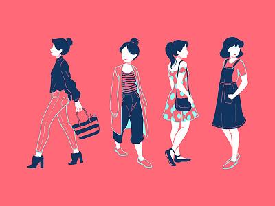 Pink Ladies graphic design bright illustration people navy pink girls fashion