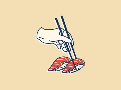 Sushi illustration vector hand food sushi retro japanese