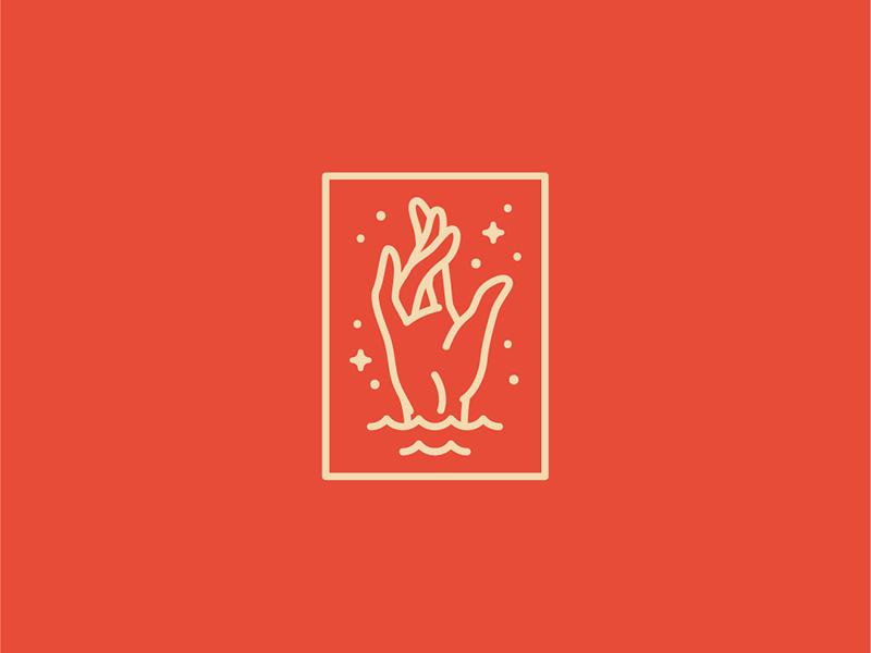 Sweaty Hand retro palm identity logomark logo illustration icon sweaty hand