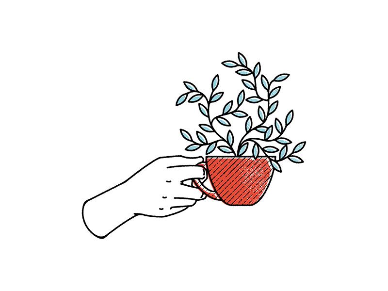 Teacup Plant retro texture halftones hand illustration leaves plant teacup