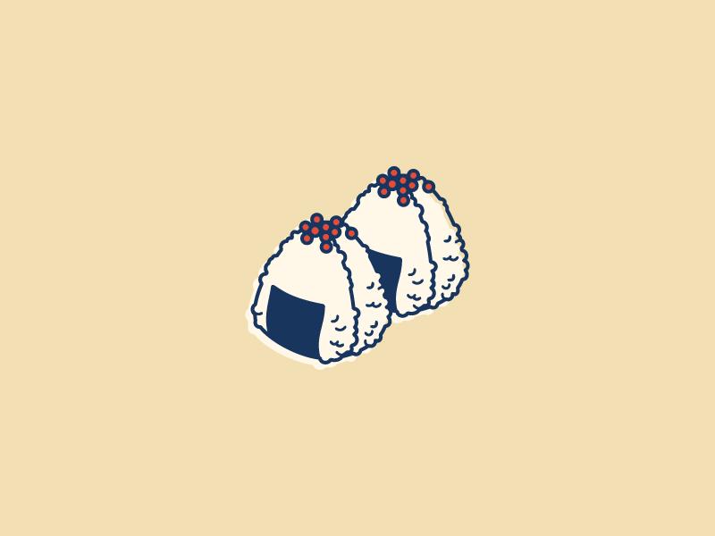 Onigiri rice onigiri retro illustration vector japanese food