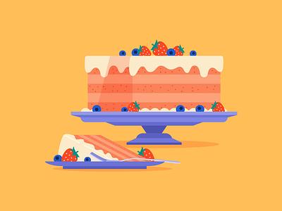Cake flat dessert blueberry strawberry cake food vector illustration