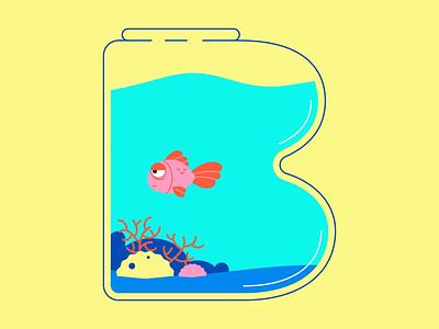 B • 36 Days of Type 2d aquarium vector motion graphics animation fart fish illustration typography 36 days of type