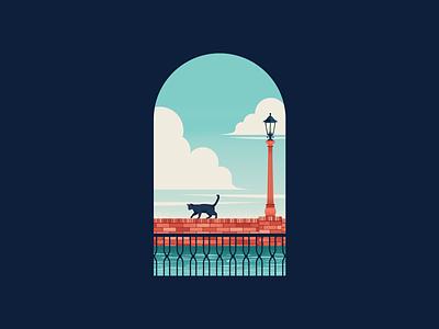 Balcony art cat texture vector illustration