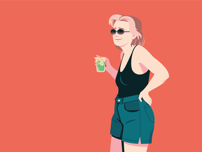 Lady and Her Drink character design vector illustration