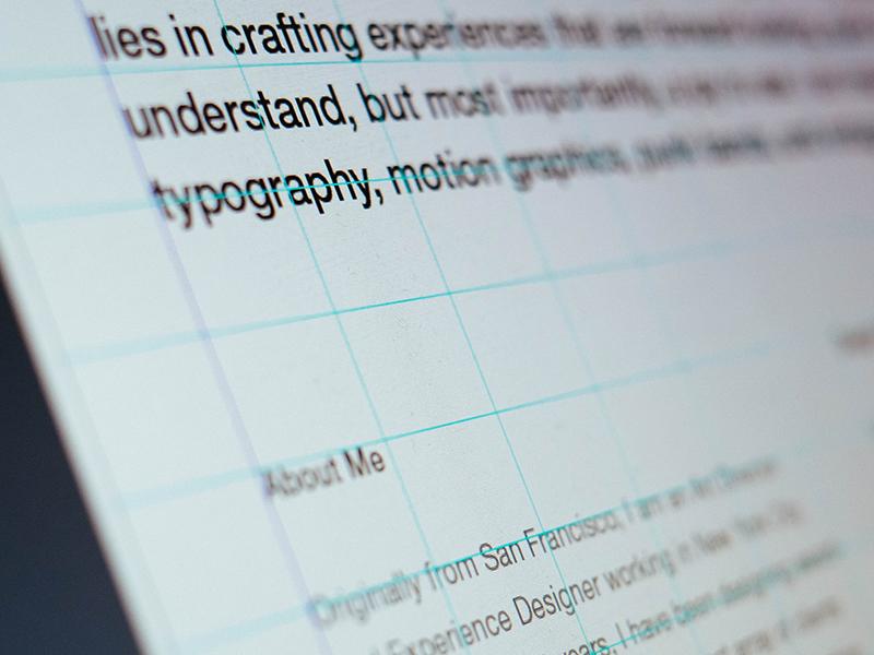 Detail of my Portfolio PDF portfolio grid indesign helvetica typography print layout swiss self promo fujifilm x-e2