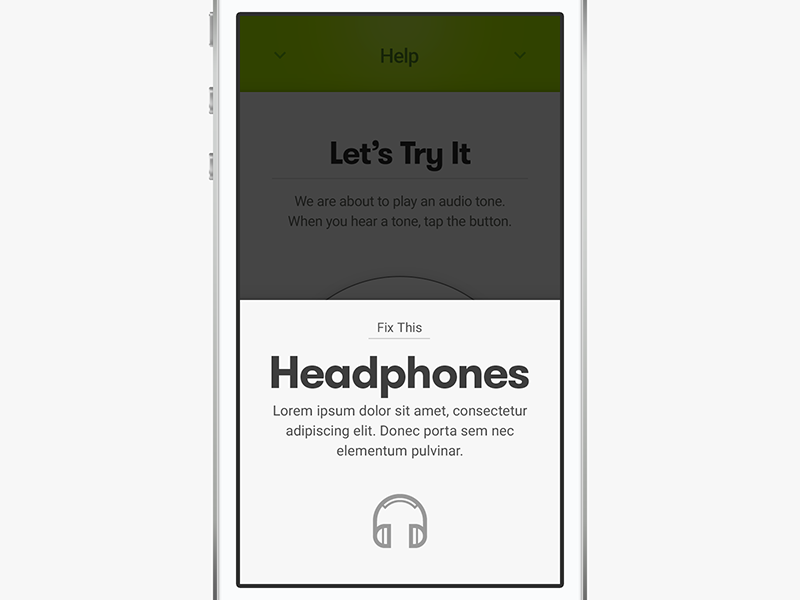 Audicus, Insert Headphones dropshadow tray overlay typography minimal icon headphones error app ios iphone health