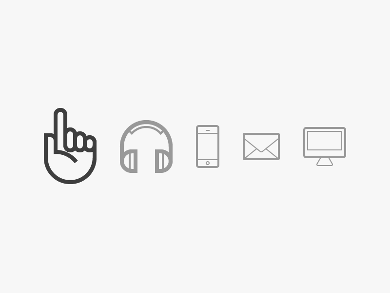 Audicus, icon family icon hand iphone call web email ios app pew pew