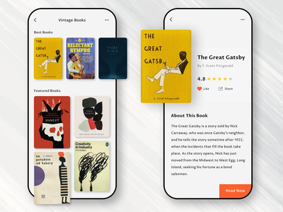 Vintage ebook App app design ebook cover book app books book deisgn ebook layout mobile app vintage application book cover