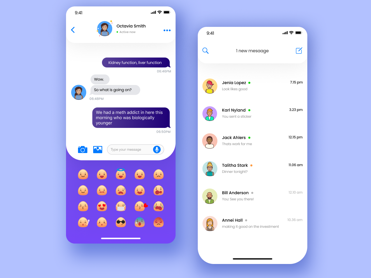 Social app UI chat - emoji character 2019 schedule project typography mobile message list interace graphics emoji design clean chat card purple application app