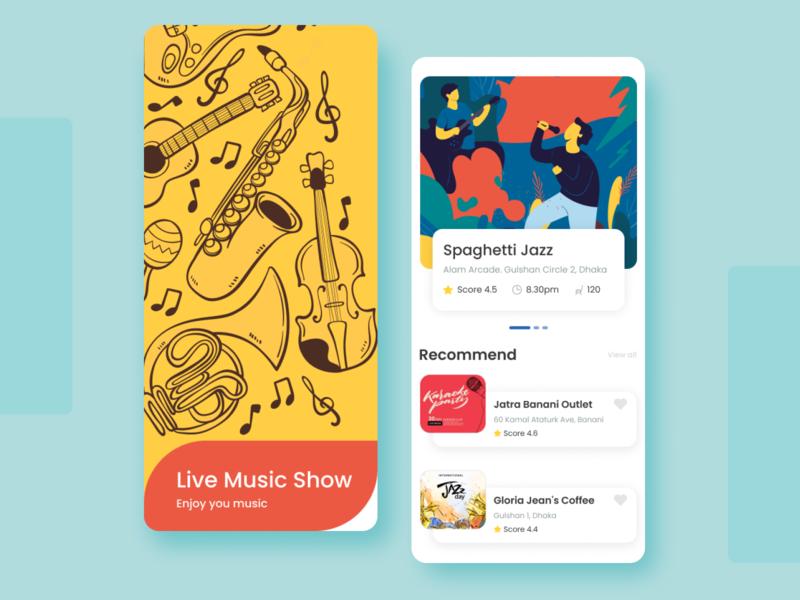 Live Music Show App illustration mobile restaurant jazz concert music concept minimal design clean