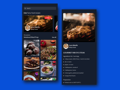 Tasty Live Food Recipes App - Dark Mode