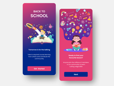Back to School - On Boarding ui minimal concept illustration mobile design app clean education app education
