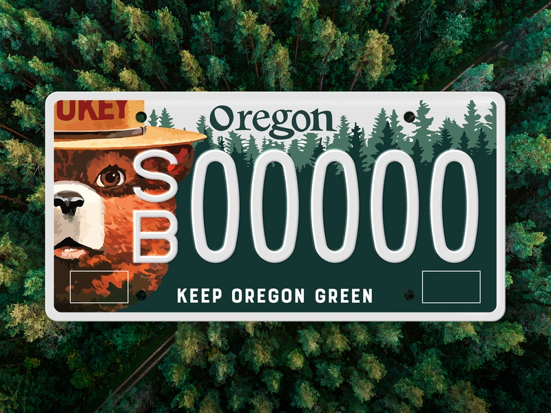 Keep Oregon Green, Smokey License Plate forest design camping trees art direction license plate green smokey forestry oregon