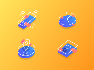 Isometric Flat Icons photos location clock smartphone blue yellow gradients flat icons icon isometric