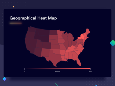 Geographical Heat Map map statistics analytics comparison design chart graph dashboard gradients data data visualization rectangle