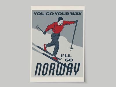Norway Vintage Travel Poster ski nordic norway poster travel illustration design