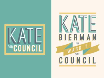 Kate for Council goodtype type font design sans serif gold green logo candidate political logo political city council typography branding design logo