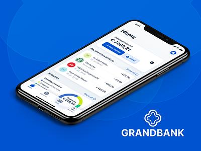 GrandBank - banking app mobile banking financing mobile mobile design banking bank finance transactions mobile app ios app ios design ios app logo branding ui design