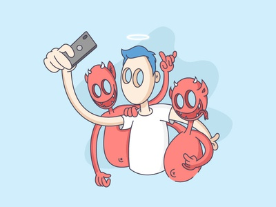 Selfie with my demons matito adobe demons selfie ui digitalart design illustrator creative artwork ai art graphicdesign sketch drawing illustration vector
