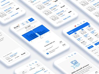 Apt Management App 2 design add-on listing page table list apartment dataviz data charts chart icon app designer mobile app design mobile app flow mockups app design mobile ui