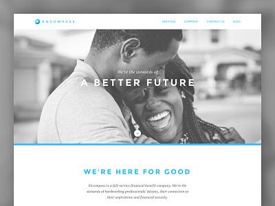 Encompass Web Site web splash page home page landing page website design design logo website