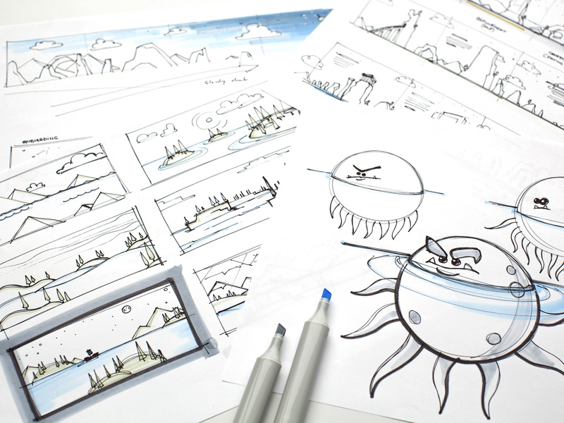 B.O.C.O. Sketch Process monster marketing geometric animation flat agency simple design web design web story character art process sketch creative clean green blue photo illustration