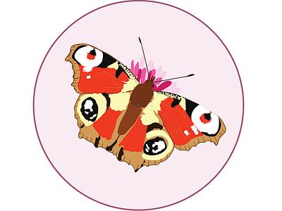 Butterflys illustration sketch badges